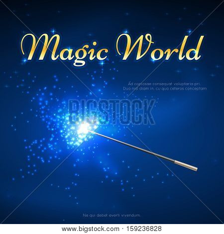 Magic wand mystery vector background. Magic world banner, performance trick with magic wand illustration