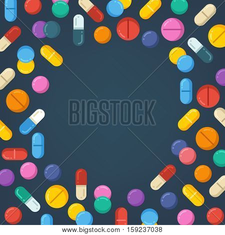 Medicine tablets, pills, drugs, capsules. healthy vector concept background. Colored tablet and pill, pharmaceutical vitamin capsule pills illustration
