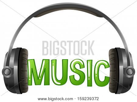 Font design with word music with headphone illustration