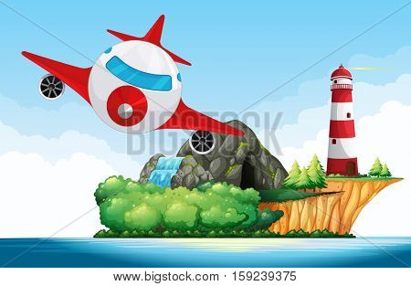Airplane flying over the lighthouse illustration