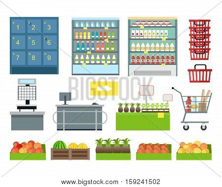 Set of supermarket furniture and equipment vector. Flat design. Shelves, freezer, lockers, scales, cash, showcase, cart, basket, trolley boxes with food illustrations Assortment in grocery store