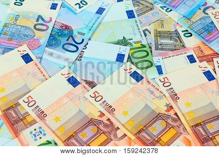 a small pile of euro as part of European trade and economic processes