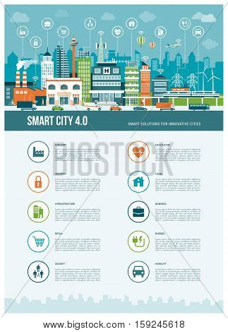Smart contemporary city infographics with icons: augmented reality smart networks and internet of things concept