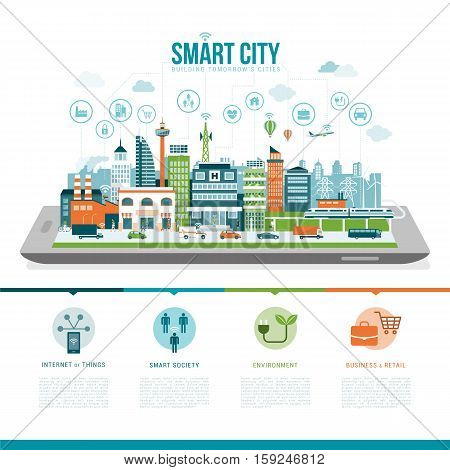 Smart city on a digital tablet or smartphone: smart services apps networks and augmented reality concept