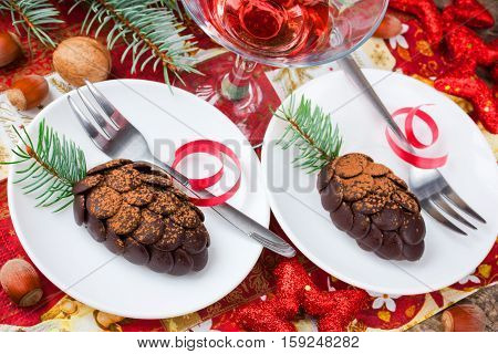 Christmas pinecone chocolate cake on festive decorated table