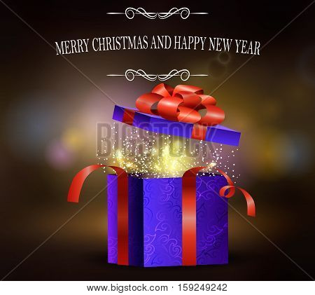 Background with Christmas open gift box with fireworks inside greeting card Vector