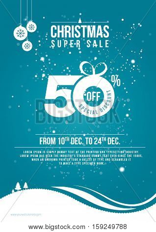 Christmas Sale Poster Design Template with 50% Discount - Christmas Flyer Design Template