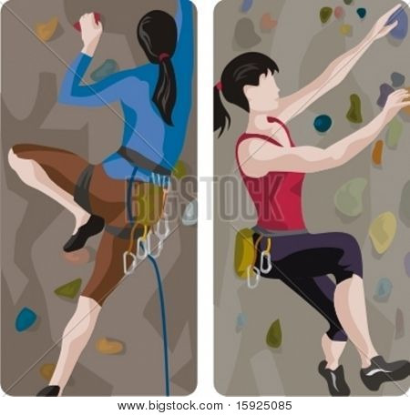 Sport illustrations series. A set of 2 female climbers illustrations.