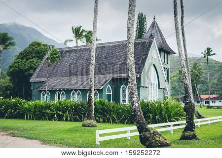 Scenic view of Wai`oli Hui`ia mission church near Hanalei Kauai Hawaii USA