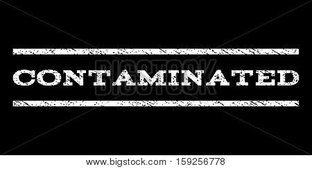 Contaminated watermark stamp. Text tag between horizontal parallel lines with grunge design style. Rubber seal white stamp with dirty texture. Vector ink imprint on a black background.