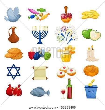 Various symbols and items of hanukkah celebration icons set. Jewish culture symbols isolated on white backround. Cartoon style vector illustration