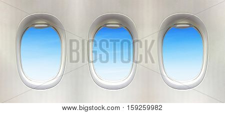 Airplane window and Fantastic soft white clouds against blue sky. 3 plane window.
