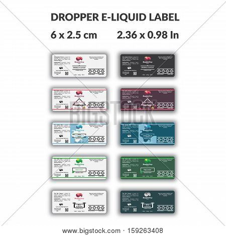 Dropper Bottle e liquid label template with many variations for brand packaging