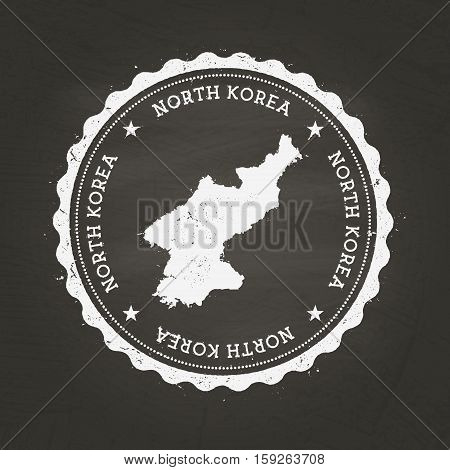 White Chalk Texture Rubber Stamp With Democratic People's Republic Of Korea Map On A School Blackboa