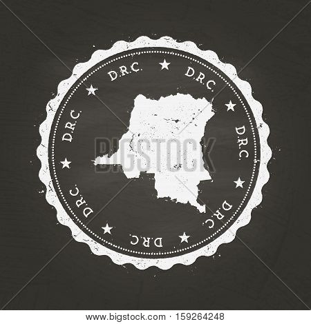 White Chalk Texture Rubber Stamp With Democratic Republic Of The Congo Map On A School Blackboard. G