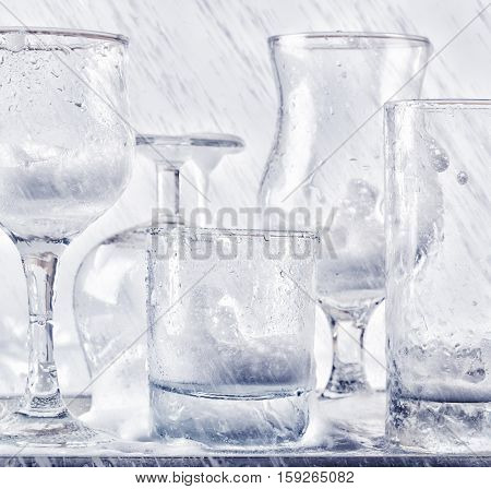 Glassware Washing Under Water Jets