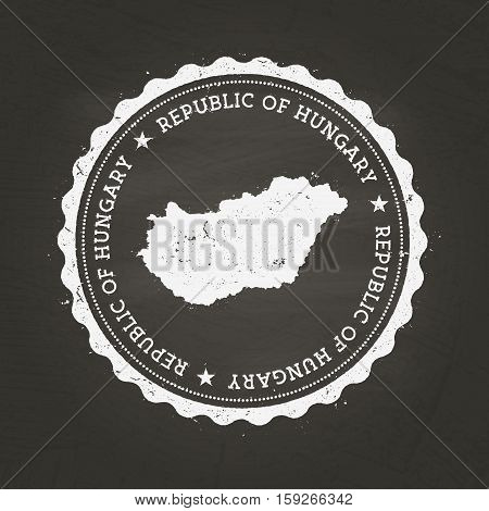 White Chalk Texture Rubber Stamp With Republic Of Hungary Map On A School Blackboard. Grunge Rubber