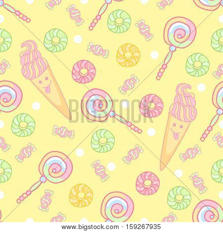 Sweet and funny seamless pattern. Ice cream, donuts, candy, lollipops. Bright background.