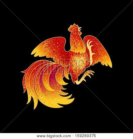 2017, the Year of the Fire Rooster in Chinese Horoscope. Red and gold colors, symbol of new year. Fire element. Hand drawn sketchy cartoon clip-art, illustration, isolated on black
