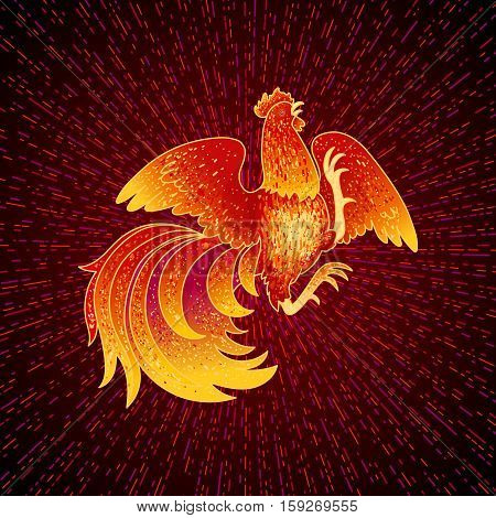 2017, the Year of the Fire Rooster in Chinese Horoscope. Red and gold colors, symbol of new year. Fire element. Hand drawn sketchy cartoon clip-art, illustration