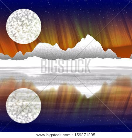 Beautiful digital landscape with mountains and a moon in night