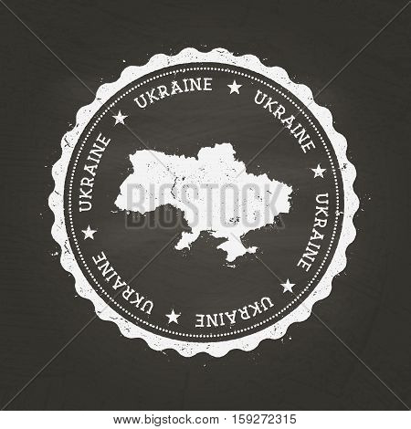 White Chalk Texture Rubber Stamp With Ukraine Map On A School Blackboard. Grunge Rubber Seal With Co