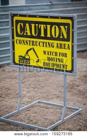 Color image of a construction area forbidden access sign.