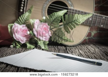 Paper Free Space On Wooden With Acoustic Guitar
