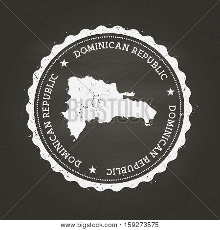 White Chalk Texture Rubber Stamp With Dominican Republic Map On A School Blackboard. Grunge Rubber S