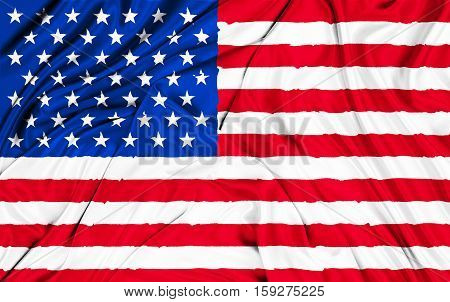 American Usa Fabric Flag, Stars And Stripes