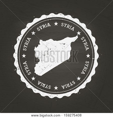 White Chalk Texture Rubber Stamp With Syrian Arab Republic Map On A School Blackboard. Grunge Rubber