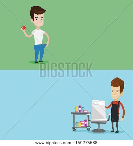 Two beauty banners with space for text. Vector flat design. Horizontal layout. Young happy man in oversized trousers. Slim man showing the results of his diet. Dieting and healthy lifestyle concept.