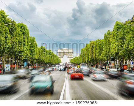 The View Of The Triumphal Arch To The Champs-elysees In Paris, France.