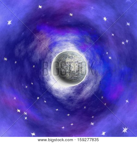 Night sky with glowing moon, stars and nebula. Dark blue, purple and pink background with silver celestial body