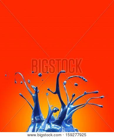 Blue shiny car paint splash mirrored on yellow and orange background 3d illustration