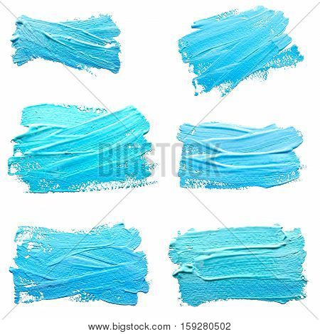 Collection of photos turquoise light blue strokes of the paint brush isolated on a white