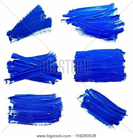 Collection of photos blue strokes of the paint brush isolated on a white