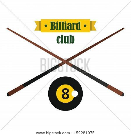 Billiard club emblem in flat style. Vector billiard object. Elements for illustration infographics and banners.