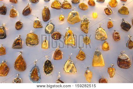 Polish Baltic amber jewellery collection seaside shop