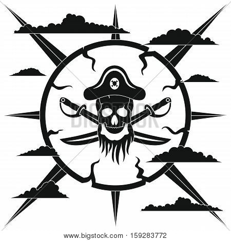 Black pirate label. Pirate illustration in black simple style isolated on white background. Elements for illustration infographics and banners.