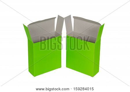 Two Green Box With Lid Open Or Green Paper Package Box Isolated On White