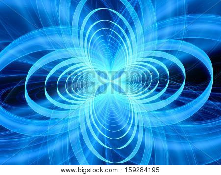 Blue glowing gravitational wave computer generated abstract background 3D rendering