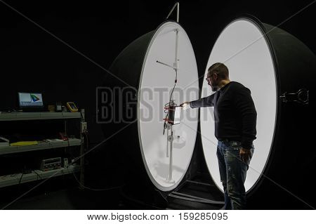 Saint-Petersburg Russia - November 30 2016: Integrating sphere photometer ball in the enterprise laboratories for the study of the characteristics of light and technical devices