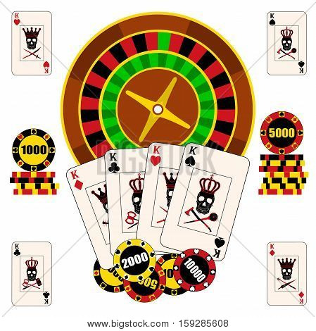 Casino composition with roulette wheel, playing cards and chips. Gambling vector illustration. Casino background. Made in flat style.