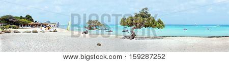 Panorama from eagle beach on Aruba island in the Caribbean sea
