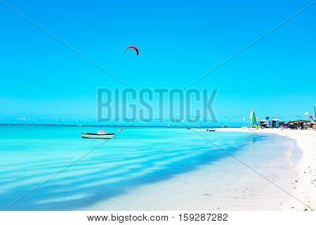 Fishermans Huts on Aruba island in the Caribbean Sea