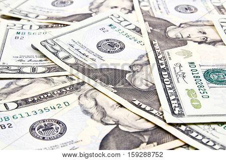 Closeup of Twenty Dollar Bills for background