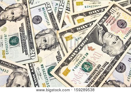 Close up of Dollar Bills for background