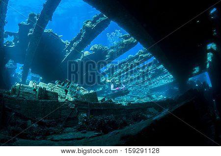 Dramatically Lightened Shipwreck called Chrisoula K.