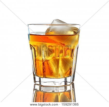 Glass of whisky with ice isolated on white